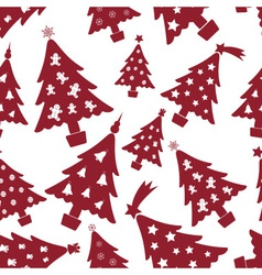 Christmas red and white tree decoration seamless vector