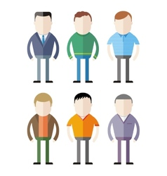Set of male fashion silhouettes vector