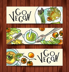 Horizontal banners on a vegetarian theme vector