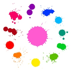 Set of colorful rainbow ink splashes vector