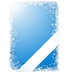 Blue winter frame with snowflakes and ribbon vector
