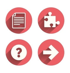 Question mark and puzzle signs file arrow vector