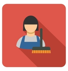 Cleaning staff flat rounded square icon with long vector