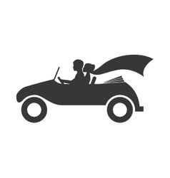 Married couple in car isolated icon design vector