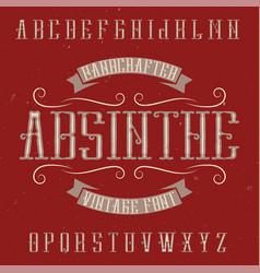 Absinthe label font and sample label design vector
