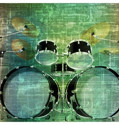 Abstract music grunge vintage background drum kit vector