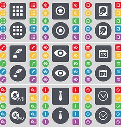 Apps arrow up hard drive ink pot vision calendar vector