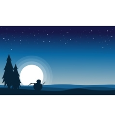 At night snowman scenery silhouettes vector