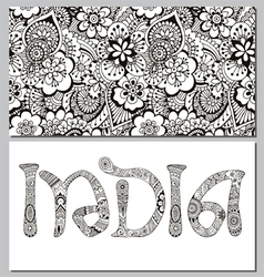 background and the inscription in the Indian style vector image vector image