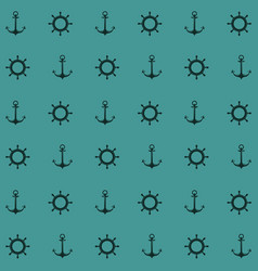 Blue color pattern of anchor and boat helm vector