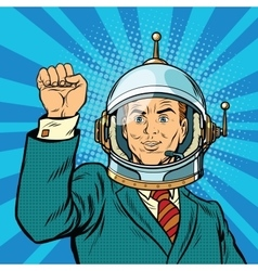 Businessman astronaut hand in a gesture of unity vector