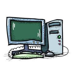 cartoon image of computer icon pc symbol vector image