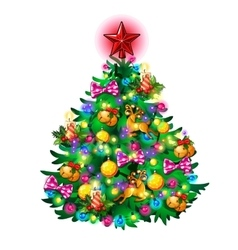 Christmas tree with toys isolated vector image