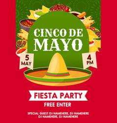 Cinco de mayo mexican party banner invitation vector