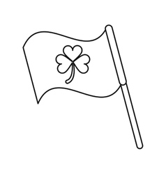 clover flag ornate st patrick day outline vector image