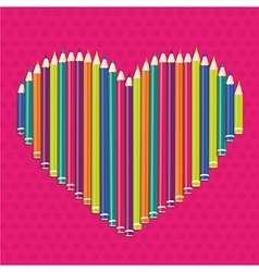 Colored pencils forming a heart on pink dots vector