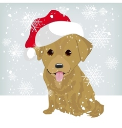 Cute labrador puppy in a santa claus hat vector