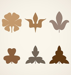 Decorative brown leaves pattern set isolated on vector
