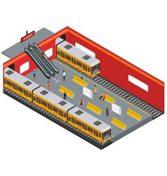 depicting subway station isometric view vector image vector image