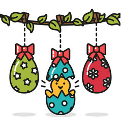 Easter eggs hanging and chicken funny surprise vector