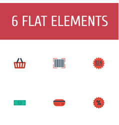 Flat icons percentage payment bag and other vector