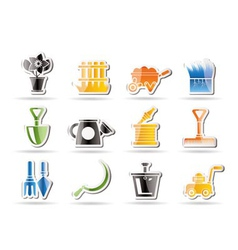 garden and gardening tools icons vector image vector image