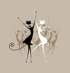 Graceful cats dancing for your design vector