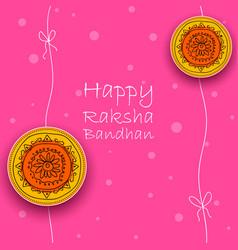 greeting card with decorative rakhi for raksha vector image