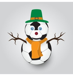 Isolated white winter happy snowman from football vector