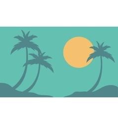 Landscape palm and sun on the beach vector