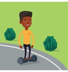Man riding on self-balancing electric scooter vector