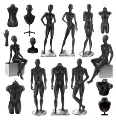 Mannequins men women realisyic black set vector