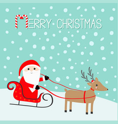 Merry christmas santa claus sleigh deer with vector