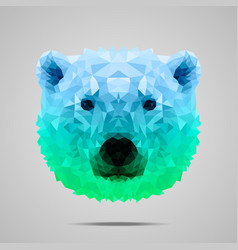 Polar bear poly gradient blue green vector image vector image