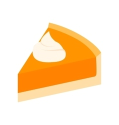 Pumpkin pie slice isometric 3d icon vector