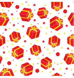 seamless gift pattern red gift boxes vector image vector image
