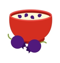 Semolina porridge blueberry vector