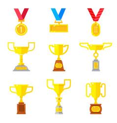 set of beautyful golden trophy cups vector image