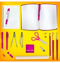 Set of Colored school supplies background EPS 10 vector image vector image