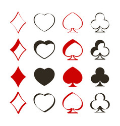 Set of monochrome icons with playing cards symbols vector