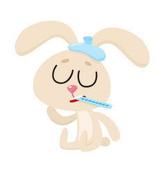 Sick rabbit having flu sitting with ice pack vector