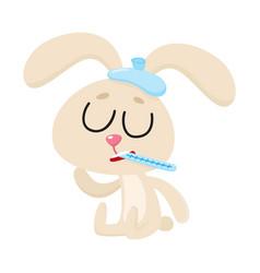 sick rabbit having flu sitting with ice pack vector image