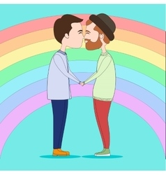 Two kissing gays vector image