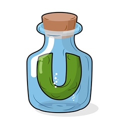 U in scientific laboratory bottle Letter in a vector image vector image