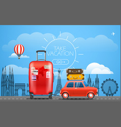 Vacation travelling concept car with baggage take vector