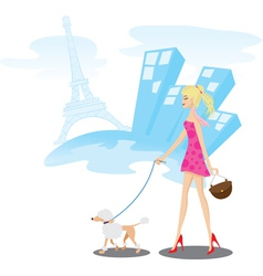 walk paris vector image vector image