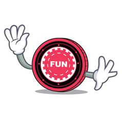 Waving funfair coin character cartoon vector
