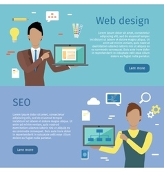 Web Design SEO Web Banners in Flat Style vector image vector image