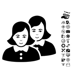Women Icon With Copter Tools Bonus vector image