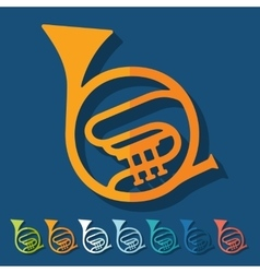 Flat design french horn vector